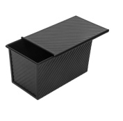 NWYJR Metal bread mould household square non-stick toast box with a lid non-stick baking mould-black