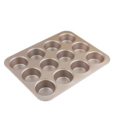NWYJR Metal Cake Mould Home Round Bread Burger Mould Non-stick Baking pan- 12 cups