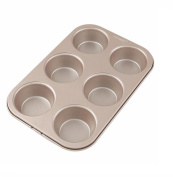 NWYJR Metal Cake Mould Home Round Bread Burger Mould Non-stick Baking pan- 6 cups