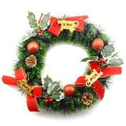 YIJIA Holiday Artificial Wreath Christmas Ornament Joyful Decorative Pine Needle for Decorating