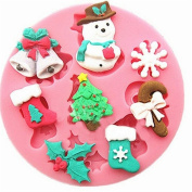 Cdet 1X Cake Mould Pink Merry Christmas Muffin Cups Soap Moulds Biscuit Chocolate Ice Cake Baking Mould Cake Pan