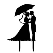 Omkuwl Acrylic Lovers Wedding Cakes Topper Bridegroom Bride with Umbrella Cake Topper