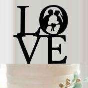 Omkuwl Acrylic Love Cake Topper Bride Groom Silhouette Cake Topper Wedding Cake Decor