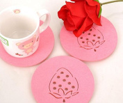 Kingwin Creative Household Items Insulated with Strawberry Felt Bowl Mats Coaster - Pink
