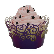 Saihui 50pc Christmas Lace Laser Cut Cupcake Wrapper Liner Baking Cup Muffin