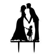 Omkuwl Bride Groom with Kid Acrylic Wedding Cake Topper Inserted Card Wedding Decorations
