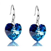 925 Sterling Silver Blue Heart Crystal from Heart of the Ocean Dangle Drop Hook Earrings for Women Girls