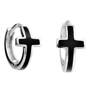 925 Sterling Silver Round Circle Unisex Cross Hoop Earrings with Cross for Women Men