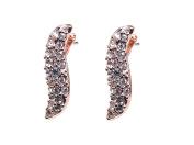 Karen Millen Rose Gold Plated Pave Crystal Wave Stud Earrings
