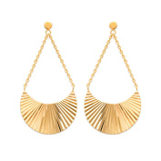 Gold Plated Clip On Earrings – Dangling 36 mm Fan Graphic/Growing
