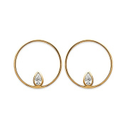 Gold Plated and Cubic Zirconia Earrings – 20 mm Ring A Zircon In Tear Drop Shape