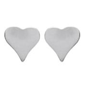 Sterling Silver 925/000 Rhodium-Plated Heart Earrings – 5 mm