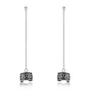 Sistrakno Sterling Silver 925 Bali Peace Symbol Chain Ear Cuff Stud Earrings