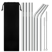 7 Pack Stainless Steel Wide Drinking Straws, 25cm and 27cm Long, SENHAI Metal Reusable Straws for Smoothie Cold Beverage -