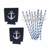 MagiDeal 2x Nautical Party Anchor Stubby Soda Beer Can Cover Holder Wrap Sleeve+10x Paper Stripe Paper Disposable Straws Party Supplies