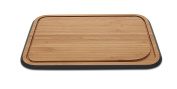 Pebbly nba097 Small Bamboo Chopping Board With Juice Groove Black 17.5 x 25 x 1.5 cm