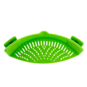 Clip-on Strainer, Green Silicone Pasta Clip on Strainer, Dishwasher Safe Colander, Universal Size Fit Most Pans, Suitable for Draining Pasta, Vegetables, Potatoes, etc.