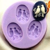 xinyiwei 3 Cavity DIY Mini Bird Sugarcraft Moulds Cake Fondant Moulds - Random Colour