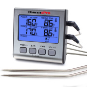 ThermoPro TP17 Food Thermometer with double long probes, Meat Thermometer with Stainless Steel Step-Down Probe for Grilling Oven Cooking Barbecue, Large LCD with Blue Backlight