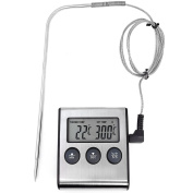 Com Four® Digital Cooking Thermometer 250 °C -500 °F with Cord & Metal Detector/Alarm with Post Time Or To desired temperature magnetic Radiator Cover