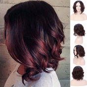 Women's Short BOB Lace Front Wigs Heat Resistant Synthetic Natural Wave Wavy U Part Lace Wig Black Wine Red mix for Daily Party Cospaly