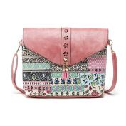 Yiliay Geometric Patterns PU Leather Mini Shoulder Bag Small Crossbody Bag-Pink