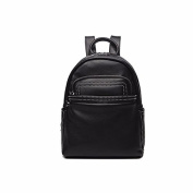 The new leisure all-match simple fashion Pu backpack anti-theft rivets,Black trumpet