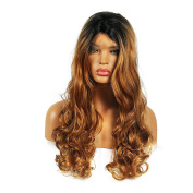 Life Diaries 250%Density Glueless Synthetic Lace Front Wig Ombre Colour Long Natural Wave 10%Human Hair+90%Heat Resistant Fibre Glueless Lace Front Synthetic Wig For Women