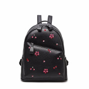 The new Pu embroidery fashion street bag woman all-match backpack ,black