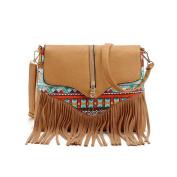 Yiliay Zipper Decoration Tassel Crossbody Bag PU Leather Shoulder Bag-Light Brown