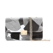 Yiliay Contrast Colour PU Leather Small Shoulder Bag Mini Clutch Crossbody Bag-Grey