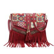 Yiliay Ethnic Tassel Design PU Leather Shouler Bag Magnetic Buckle Hobe Corssbody Bag-Red