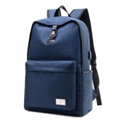 GXYLLDS Vintage Canvas Backpack - Lightweight Canvas Backpack With USB Charging Port Travel Daypack Student Backpack With Side Pockets Canvas Rucksack,Blue-OneSize