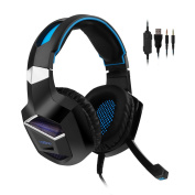 COOAU Gaming Headset for PS4 Xbox One PC, Over-ear Game Headphones with Microphone, LED 3.5mm Noise Cancelling One-key Mute Earphones for Mac Laptop Tablet Smartphone
