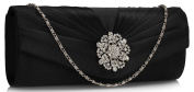 Ladies Satin Evening Clutch Bag Wedding Party Prom Floral Crystal Women Handbags Pleated New Design
