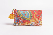 Orange pouch, zipper purse, make up or cosmetic bag, utility pouch, kantha pouch, 13cm X 23cm
