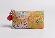 Yellow pouch, zipper purse, make up or cosmetic bag, utility pouch, kantha pouch, 13cm X 23cm