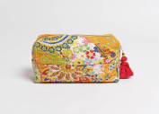 Yellow toiletry bag, kantha pouch, make up or cosmetic bag, utility pouch, 4X3inches X 20cm