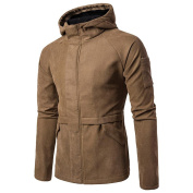 DIKEWANG Men Stylish and Fashion Design Autumn Winter Long Sleeved Solid Hooded Shirt Top Pullover Outwear Sweat Jacket