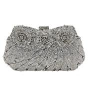 Flada Rhinestones Flower Clutches Bags for Girl's Wedding Party Evening Handbag Purse Silver