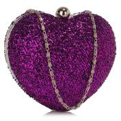 Womens Hardcase Clutch Bag Ladies Heart Glittery Shiny Metallic Evening Handbag New Wedding Party Bag