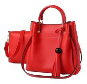 Yan Show Women's PU Commute Shoulder Bag Tassel Handbag Matching Packs /Red