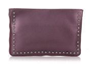 Laura Moretti - Leather clutch / crossbody bag with studed sides