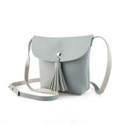 Yiliay Ladies Tassel Decor Design Mini Shoulder Bag PU Leather Small Crossbody Bag For Girls-Grey