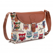 prelikes Women Cartoon Owl Cotton Cloth Crossbody Shoulder Bag Messenger Bag Gift