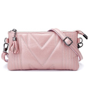 MeiliYH Ladies Leather HandBag Folds Tassel Shoulder Messenger Bag for Women