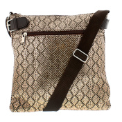 Womens Cross Body Bag In Tweed Style Fabric With Metallic Foil Print Overlay Internal Zip Pocket And Pouch For All Of Your Essentials Zip Top Fastenin