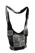 Black & White Razor Cut Patches Cotton Fabric Cross Body Bag
