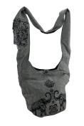 Elephant Lotus Flower Print Zip Top Cotton Canvas Cross Body Bag