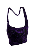 Bright Purple Hand Embroidered Crossbody Bag with Padded Strap